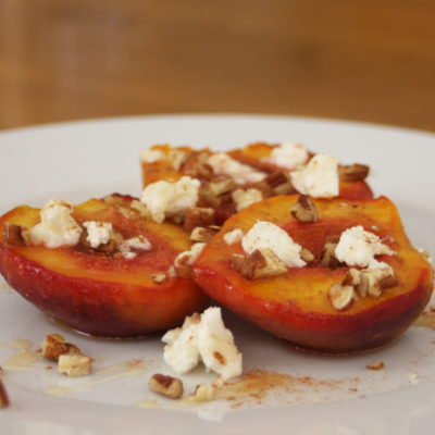 Honey Roasted Peaches with Goat Cheese & Pecans