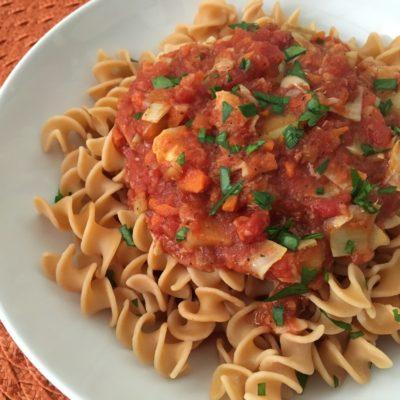 Red Lentil Pasta with Artichoke Ragu